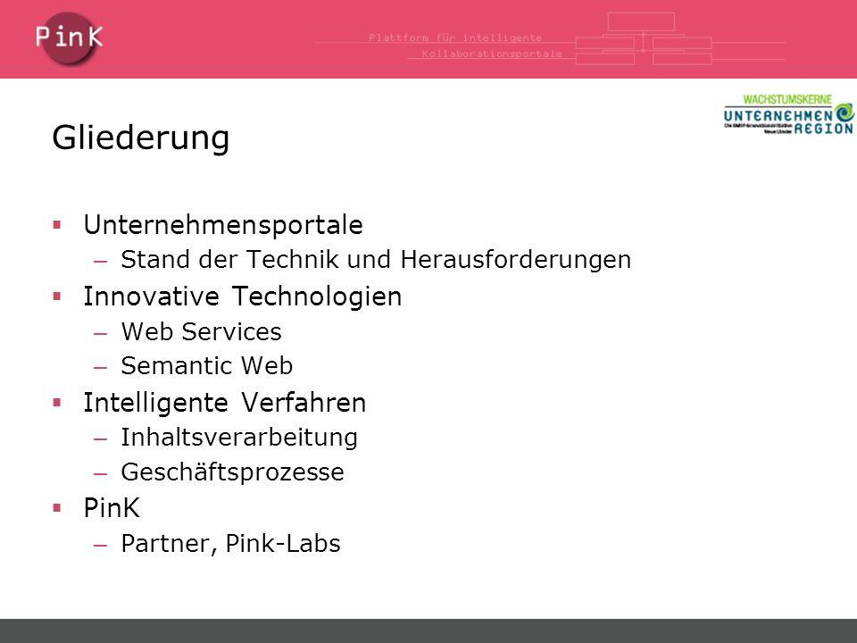 Gliederung Unternehmensportale – Stand der Technik und Herausforderungen Innovative Technologien – Web Services – Semantic Web Intelligente Verfahren – Inhaltsverarbeitung – Geschäftsprozesse PinK – Partner, Pink-Labs