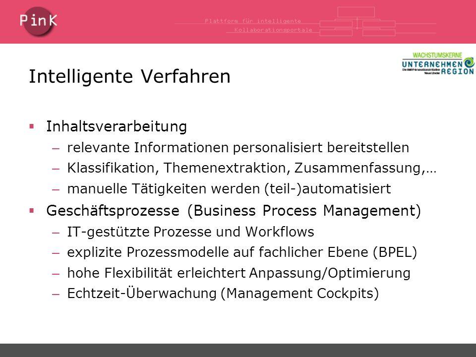 Intelligente Verfahren Inhaltsverarbeitung – relevante Informationen personalisiert bereitstellen – Klassifikation, Themenextraktion, Zusammenfassung,… – manuelle Tätigkeiten werden (teil-)automatisiert Geschäftsprozesse (Business Process Management) – IT-gestützte Prozesse und Workflows – explizite Prozessmodelle auf fachlicher Ebene (BPEL) – hohe Flexibilität erleichtert Anpassung/Optimierung – Echtzeit-Überwachung (Management Cockpits)