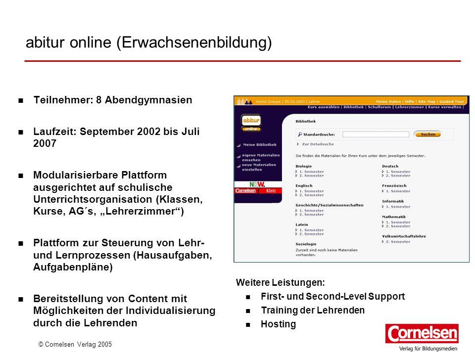 © Cornelsen Verlag 2005 abitur online (Erwachsenenbildung) Teilnehmer: 8 Abendgymnasien Laufzeit: September 2002 bis Juli 2007 Modularisierbare Plattf