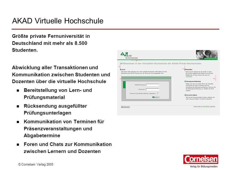 © Cornelsen Verlag 2005 AKAD Virtuelle Hochschule Größte private Fernuniversität in Deutschland mit mehr als 8.500 Studenten. Abwicklung aller Transak