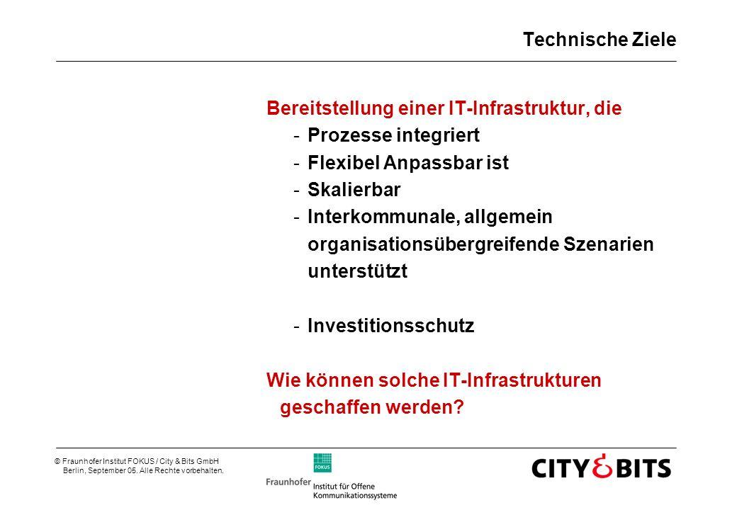 © Fraunhofer Institut FOKUS / City & Bits GmbH Berlin, September 05. Alle Rechte vorbehalten. Technische Ziele Bereitstellung einer IT-Infrastruktur,