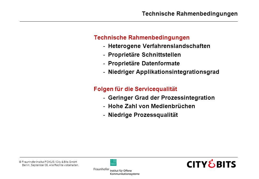 © Fraunhofer Institut FOKUS / City & Bits GmbH Berlin, September 05. Alle Rechte vorbehalten. Technische Rahmenbedingungen -Heterogene Verfahrenslands