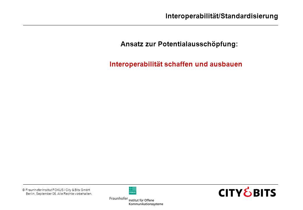 © Fraunhofer Institut FOKUS / City & Bits GmbH Berlin, September 05. Alle Rechte vorbehalten. Interoperabilität/Standardisierung Ansatz zur Potentiala
