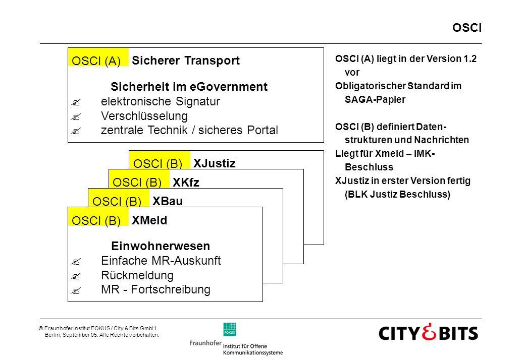 © Fraunhofer Institut FOKUS / City & Bits GmbH Berlin, September 05. Alle Rechte vorbehalten. OSCI OSCI (A) liegt in der Version 1.2 vor Obligatorisch