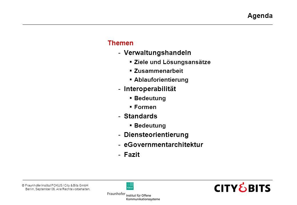 © Fraunhofer Institut FOKUS / City & Bits GmbH Berlin, September 05. Alle Rechte vorbehalten. Agenda Themen -Verwaltungshandeln Ziele und Lösungsansät