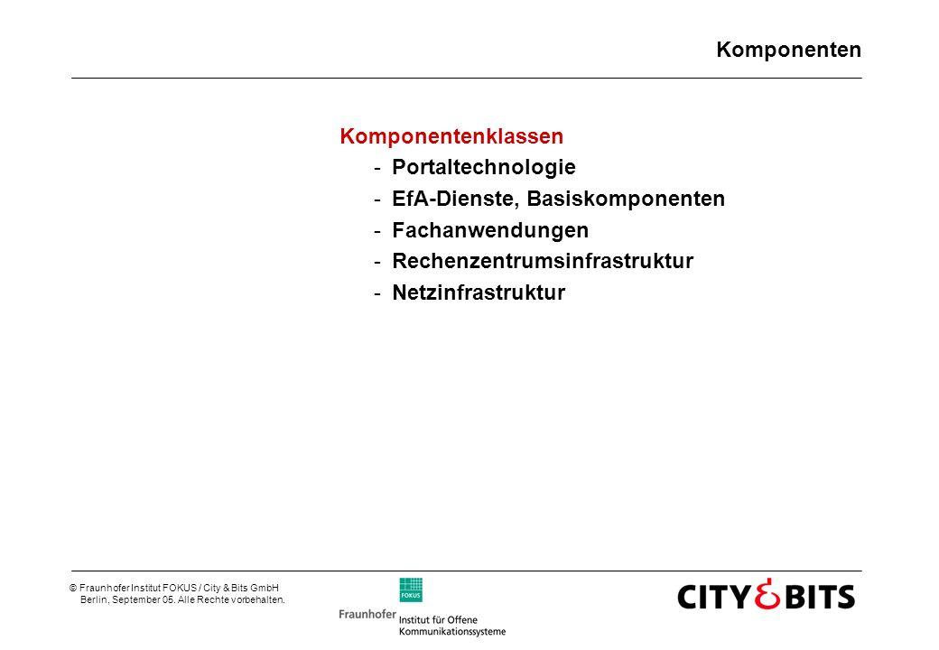 © Fraunhofer Institut FOKUS / City & Bits GmbH Berlin, September 05. Alle Rechte vorbehalten. Komponenten Komponentenklassen -Portaltechnologie -EfA-D