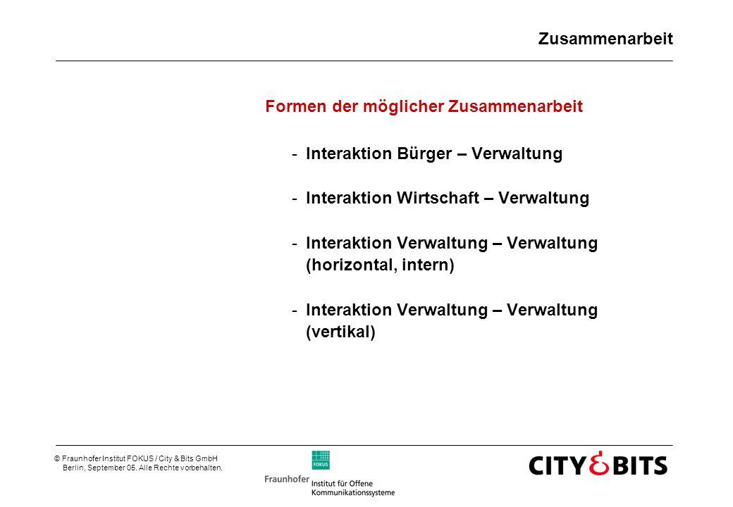 © Fraunhofer Institut FOKUS / City & Bits GmbH Berlin, September 05. Alle Rechte vorbehalten. Zusammenarbeit Formen der möglicher Zusammenarbeit -Inte