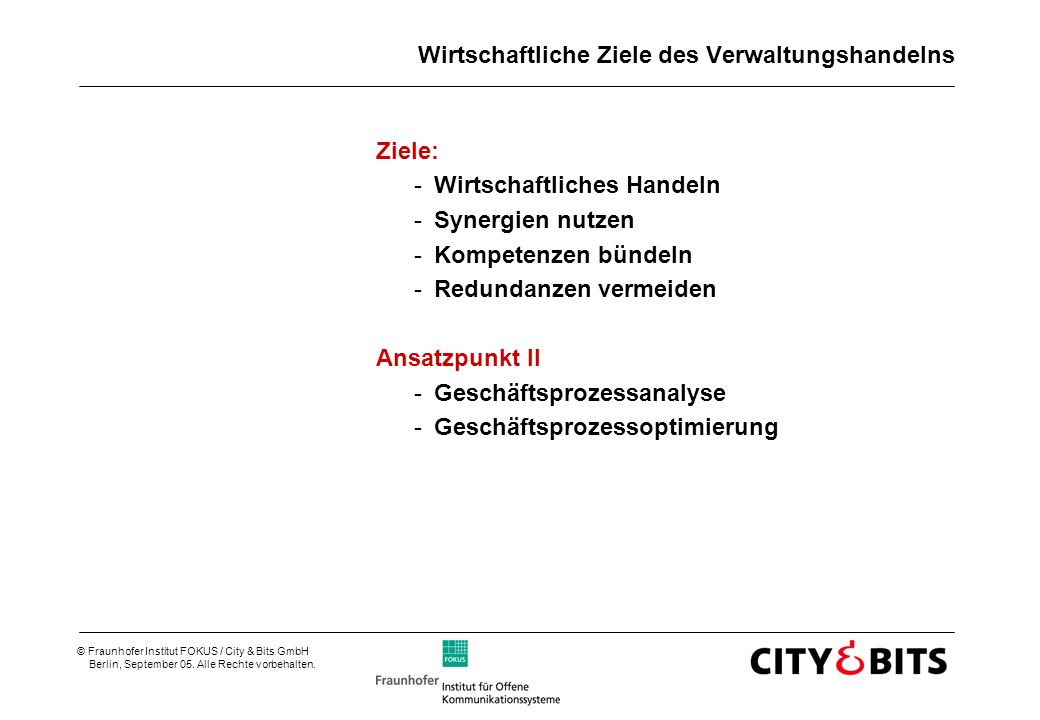 © Fraunhofer Institut FOKUS / City & Bits GmbH Berlin, September 05.