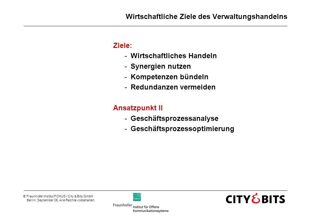 © Fraunhofer Institut FOKUS / City & Bits GmbH Berlin, September 05. Alle Rechte vorbehalten. Wirtschaftliche Ziele des Verwaltungshandelns Ziele: -Wi