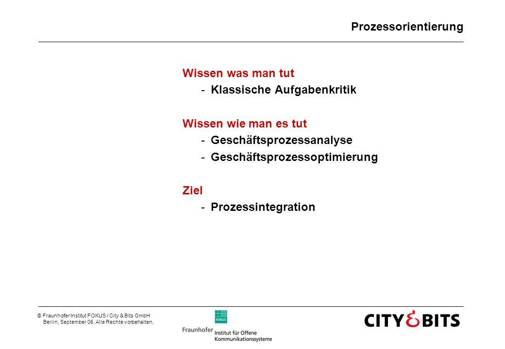 © Fraunhofer Institut FOKUS / City & Bits GmbH Berlin, September 05. Alle Rechte vorbehalten. Prozessorientierung Wissen was man tut -Klassische Aufga