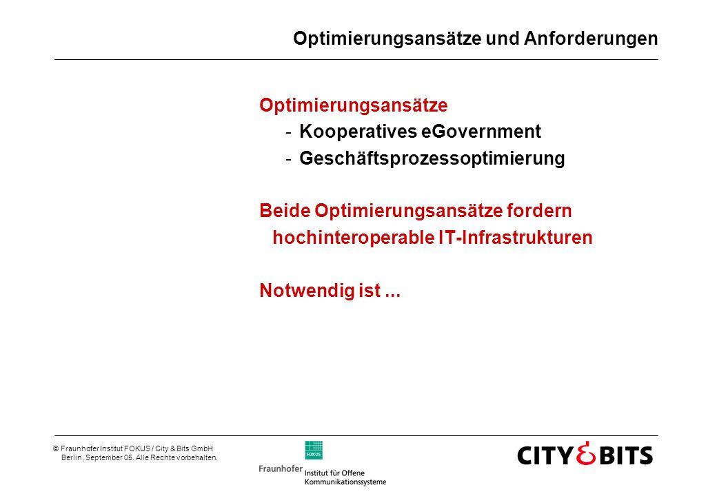 © Fraunhofer Institut FOKUS / City & Bits GmbH Berlin, September 05. Alle Rechte vorbehalten. Optimierungsansätze und Anforderungen Optimierungsansätz