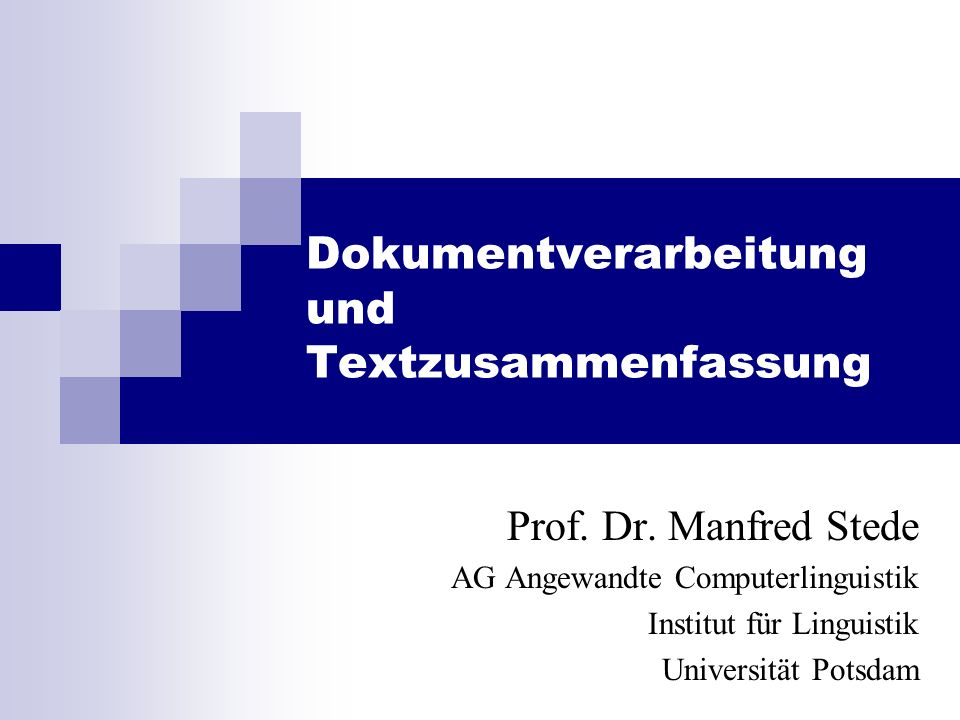 Manfred Stede Informationsextraktion 19 March.