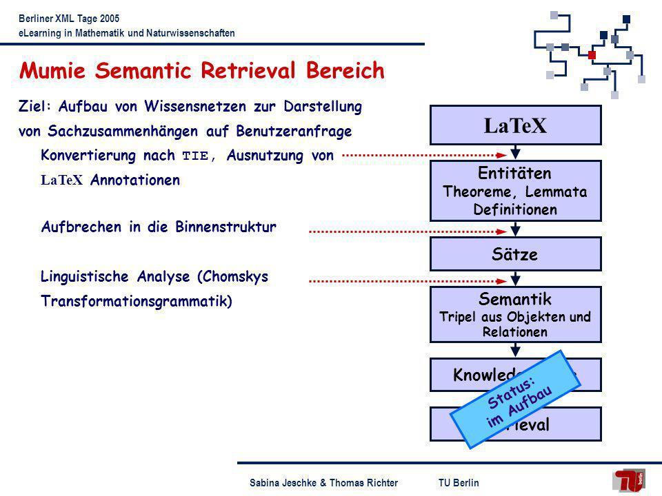 TU BerlinSabina Jeschke & Thomas Richter Berliner XML Tage 2005 eLearning in Mathematik und Naturwissenschaften Mumie Semantic Retrieval Bereich LaTeX