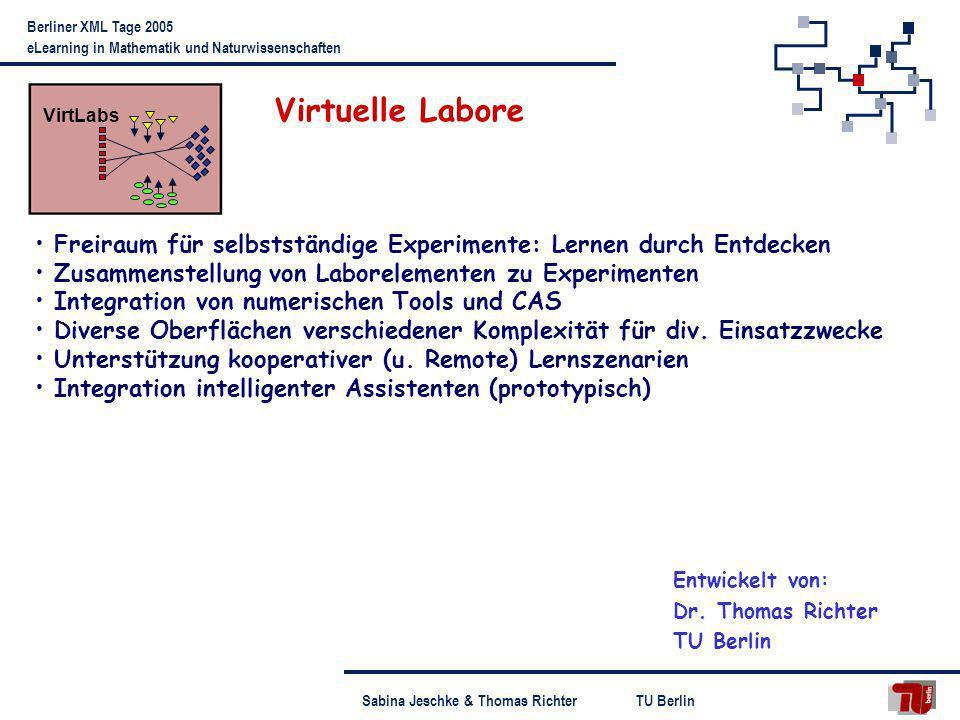 TU BerlinSabina Jeschke & Thomas Richter Berliner XML Tage 2005 eLearning in Mathematik und Naturwissenschaften Freiraum für selbstständige Experiment