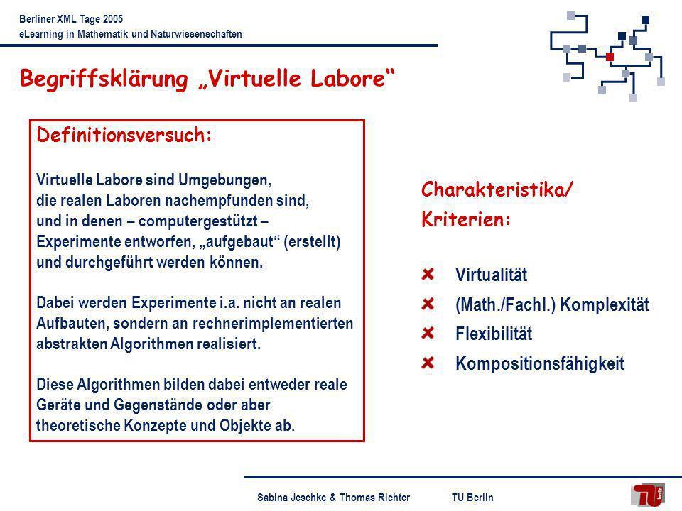 TU BerlinSabina Jeschke & Thomas Richter Berliner XML Tage 2005 eLearning in Mathematik und Naturwissenschaften Begriffsklärung Virtuelle Labore Defin