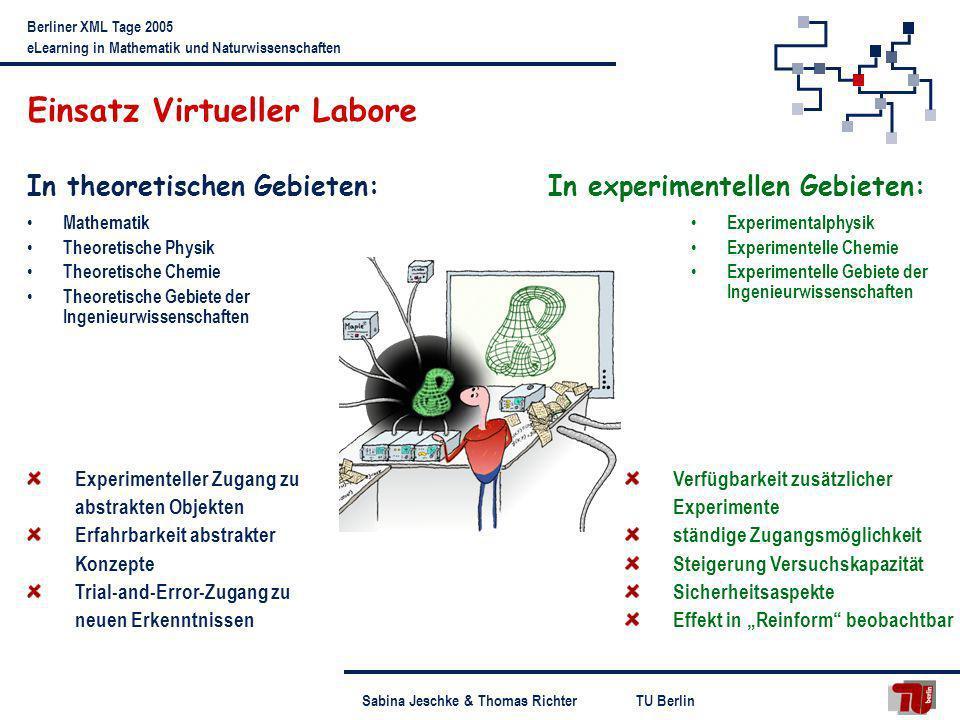 TU BerlinSabina Jeschke & Thomas Richter Berliner XML Tage 2005 eLearning in Mathematik und Naturwissenschaften Einsatz Virtueller Labore In theoretis