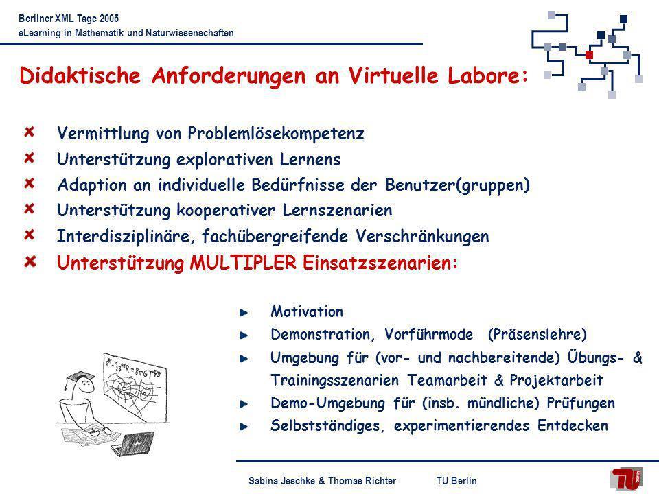TU BerlinSabina Jeschke & Thomas Richter Berliner XML Tage 2005 eLearning in Mathematik und Naturwissenschaften Didaktische Anforderungen an Virtuelle