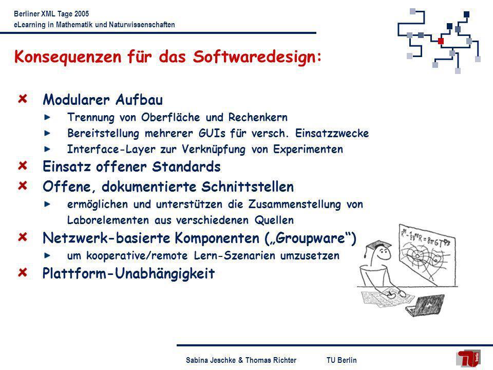 TU BerlinSabina Jeschke & Thomas Richter Berliner XML Tage 2005 eLearning in Mathematik und Naturwissenschaften Konsequenzen für das Softwaredesign: M