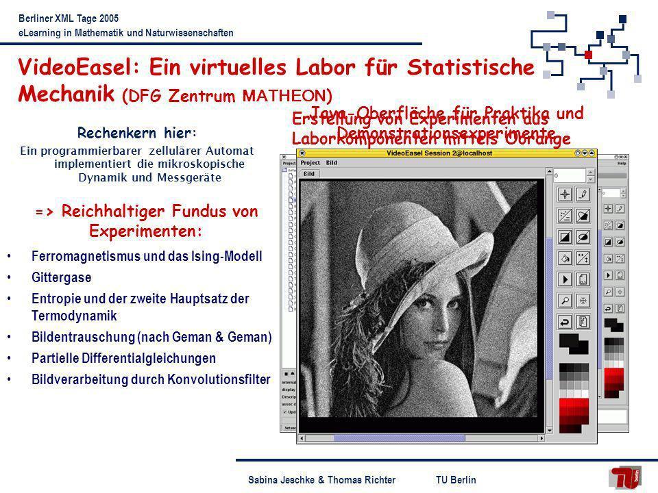 TU BerlinSabina Jeschke & Thomas Richter Berliner XML Tage 2005 eLearning in Mathematik und Naturwissenschaften Erstellung von Experimenten aus Labork