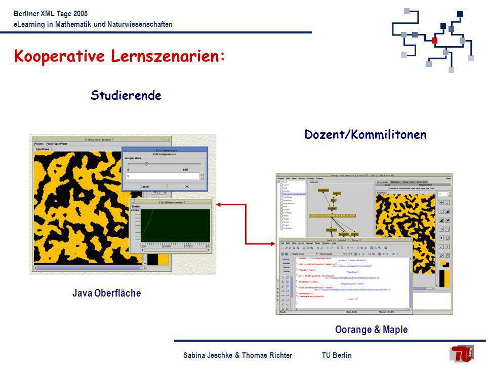 TU BerlinSabina Jeschke & Thomas Richter Berliner XML Tage 2005 eLearning in Mathematik und Naturwissenschaften Kooperative Lernszenarien: Oorange & M