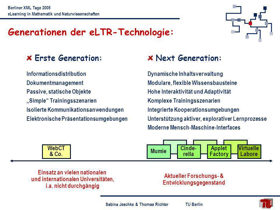 TU BerlinSabina Jeschke & Thomas Richter Berliner XML Tage 2005 eLearning in Mathematik und Naturwissenschaften Begriffsklärung Virtuelle Labore Definitionsversuch: Virtuelle Labore sind Umgebungen, die realen Laboren nachempfunden sind, und in denen – computergestützt – Experimente entworfen, aufgebaut (erstellt) und durchgeführt werden können.