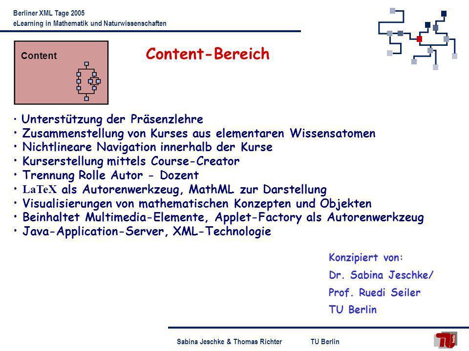TU BerlinSabina Jeschke & Thomas Richter Berliner XML Tage 2005 eLearning in Mathematik und Naturwissenschaften Unterstützung der Präsenzlehre Zusamme