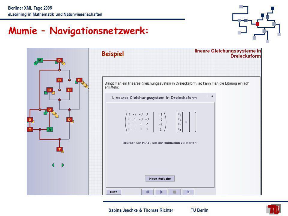 TU BerlinSabina Jeschke & Thomas Richter Berliner XML Tage 2005 eLearning in Mathematik und Naturwissenschaften Konsequenzen für das Softwaredesign: Modularer Aufbau Trennung von Oberfläche und Rechenkern Bereitstellung mehrerer GUIs für versch.