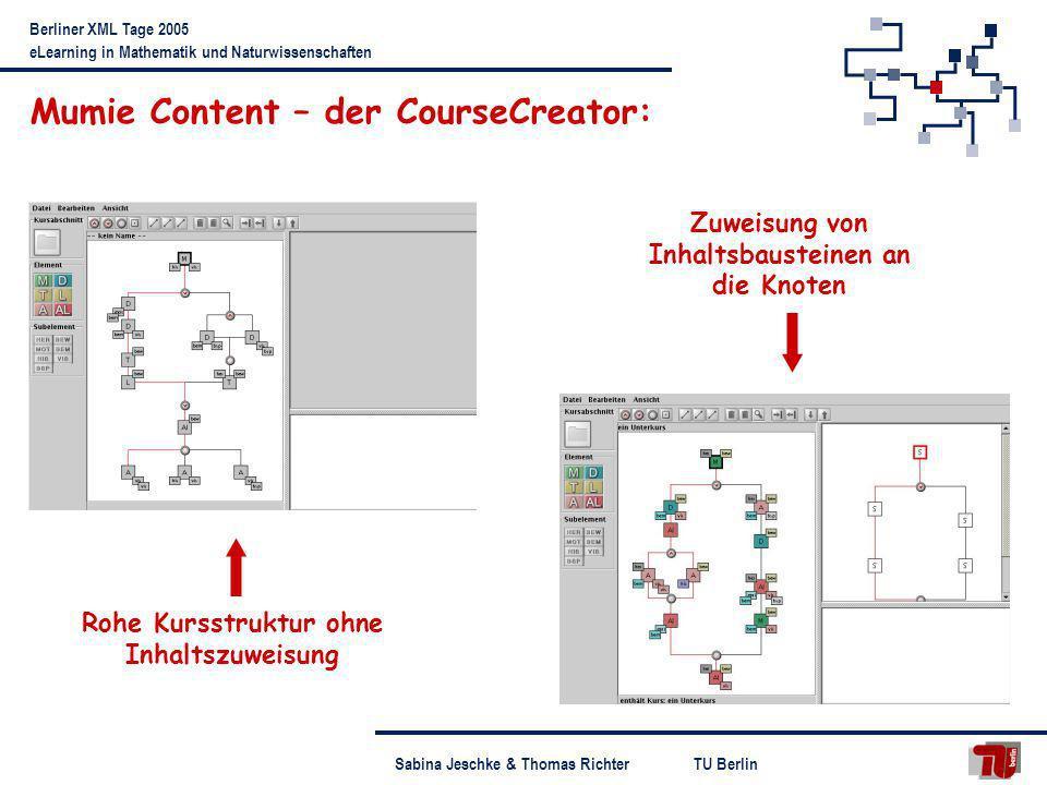 TU BerlinSabina Jeschke & Thomas Richter Berliner XML Tage 2005 eLearning in Mathematik und Naturwissenschaften Mumie Content – der CourseCreator: Roh