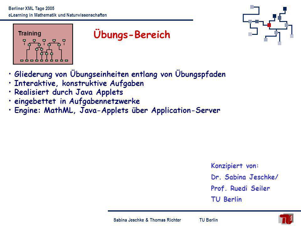 TU BerlinSabina Jeschke & Thomas Richter Berliner XML Tage 2005 eLearning in Mathematik und Naturwissenschaften Übungsbereich Beispiel: Hausaufgabe zu linearen Abbildungen Aufgaben zu einem Themengebiet Navigation im Kurs