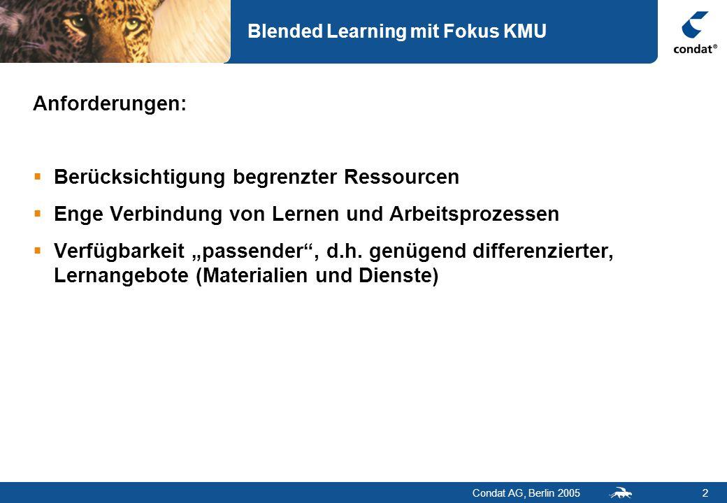 Condat AG, Berlin 20052 Blended Learning mit Fokus KMU Anforderungen: Berücksichtigung begrenzter Ressourcen Enge Verbindung von Lernen und Arbeitspro
