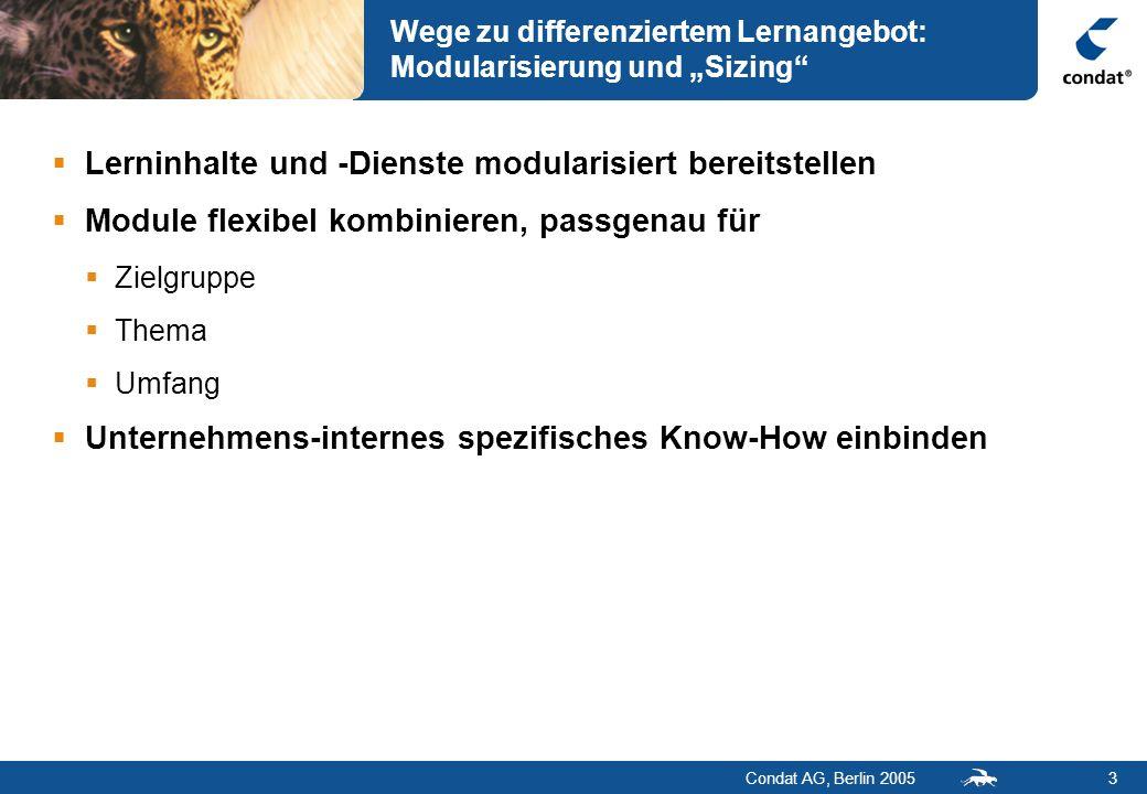Condat AG, Berlin 20053 Wege zu differenziertem Lernangebot: Modularisierung und Sizing Lerninhalte und -Dienste modularisiert bereitstellen Module fl
