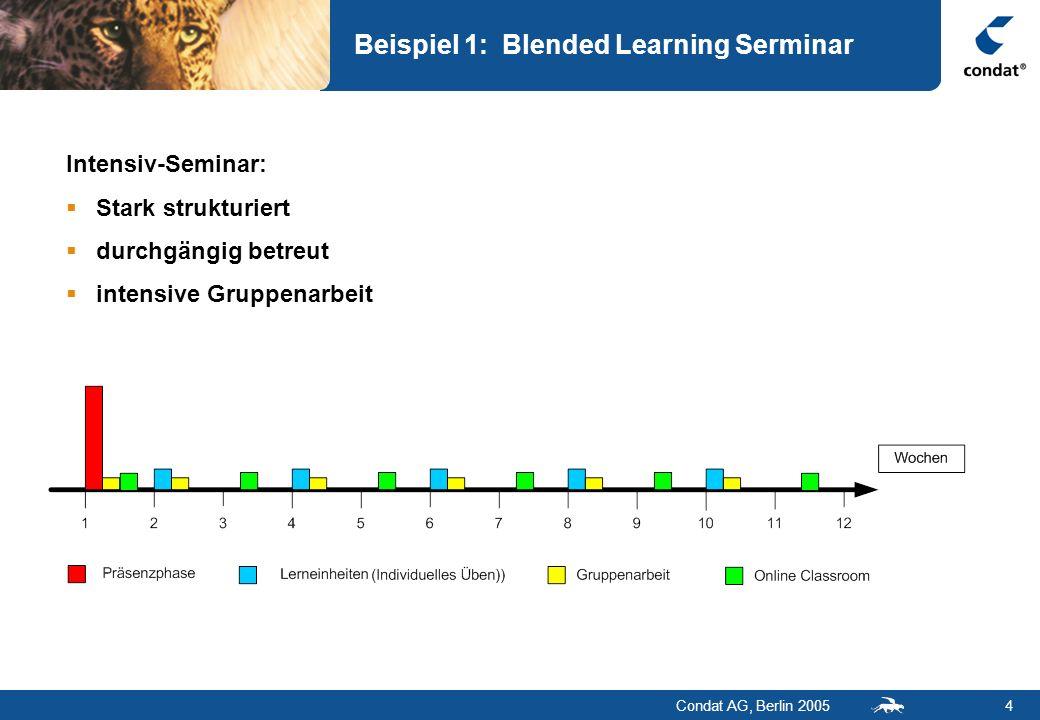 Condat AG, Berlin 20054 Beispiel 1: Blended Learning Serminar Intensiv-Seminar: Stark strukturiert durchgängig betreut intensive Gruppenarbeit