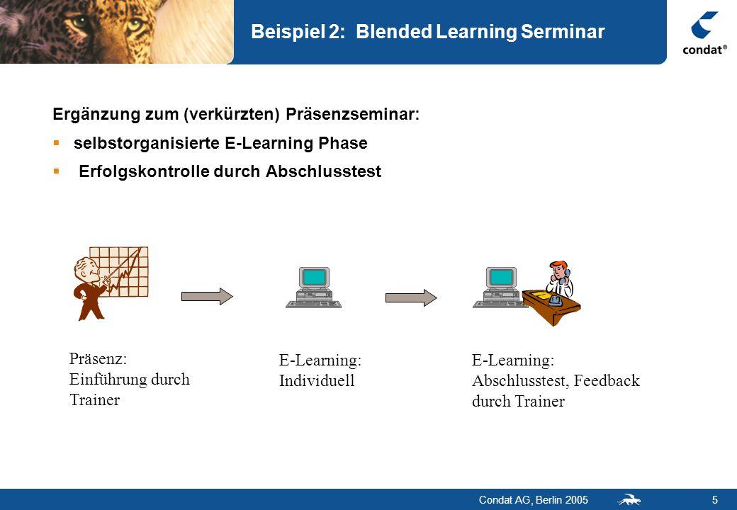 Condat AG, Berlin 20055 Beispiel 2: Blended Learning Serminar Präsenz: Einführung durch Trainer E-Learning: Individuell E-Learning: Abschlusstest, Fee