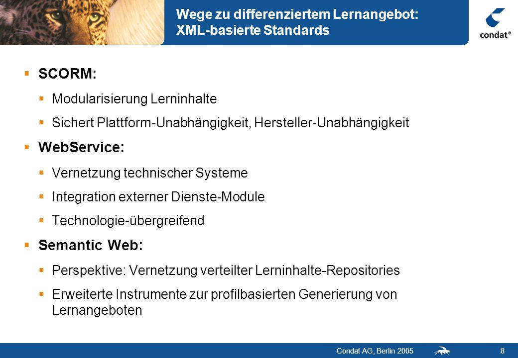 Condat AG, Berlin 20058 Wege zu differenziertem Lernangebot: XML-basierte Standards SCORM: Modularisierung Lerninhalte Sichert Plattform-Unabhängigkei