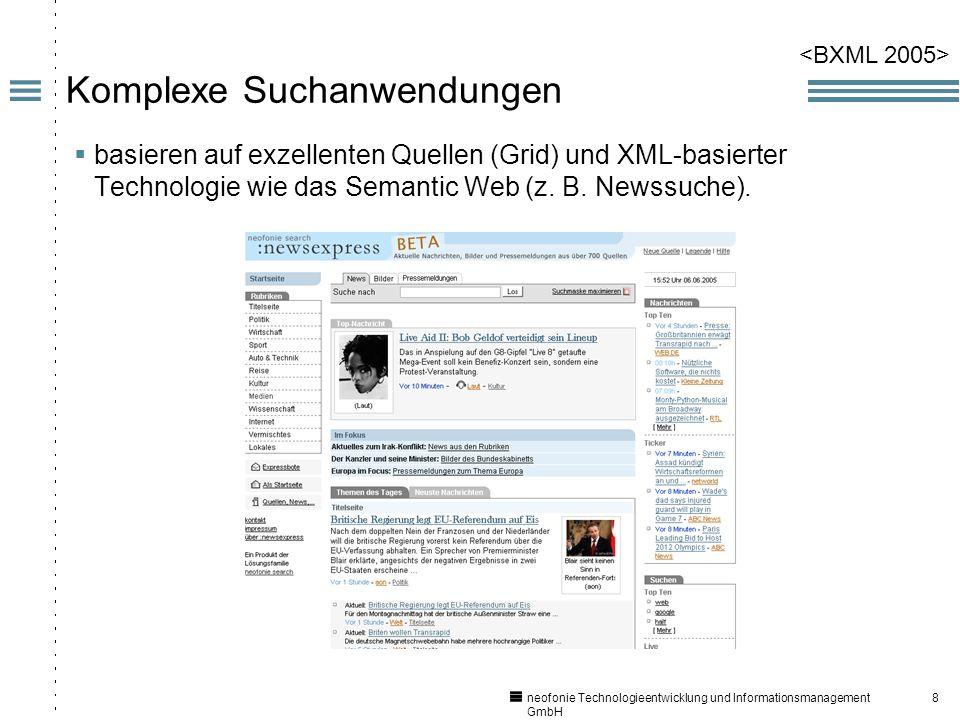 8 neofonie Technologieentwicklung und Informationsmanagement GmbH Komplexe Suchanwendungen basieren auf exzellenten Quellen (Grid) und XML-basierter Technologie wie das Semantic Web (z.