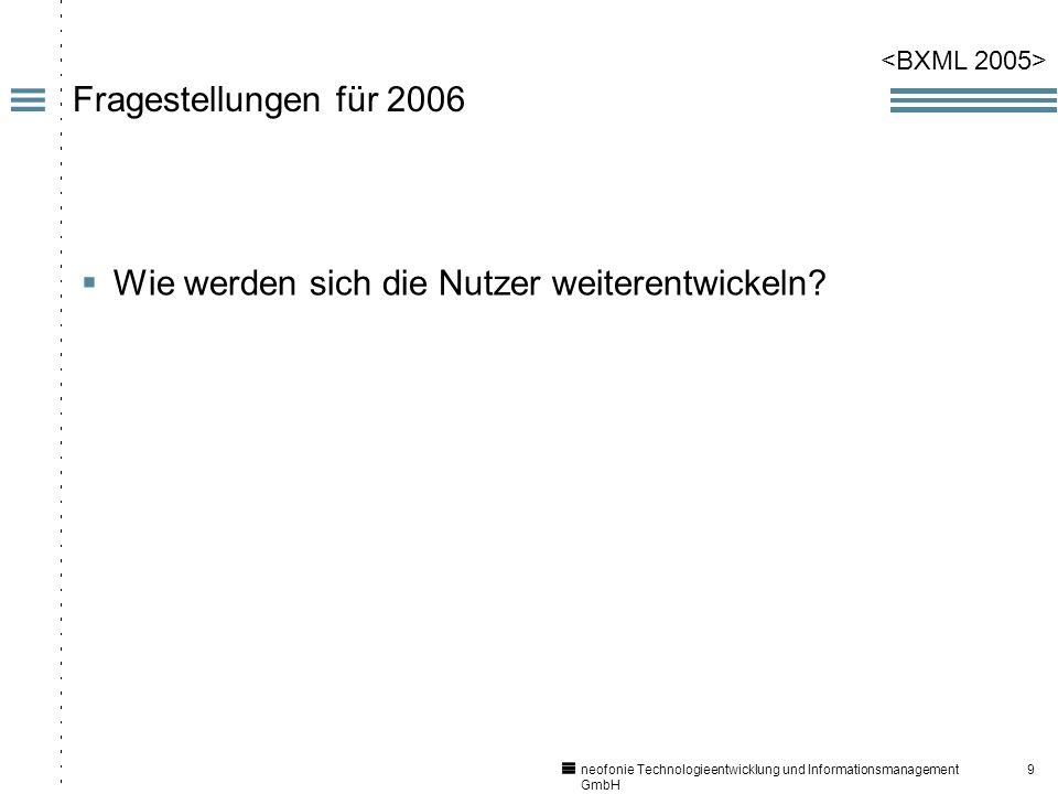 9 neofonie Technologieentwicklung und Informationsmanagement GmbH Fragestellungen für 2006 Wie werden sich die Nutzer weiterentwickeln