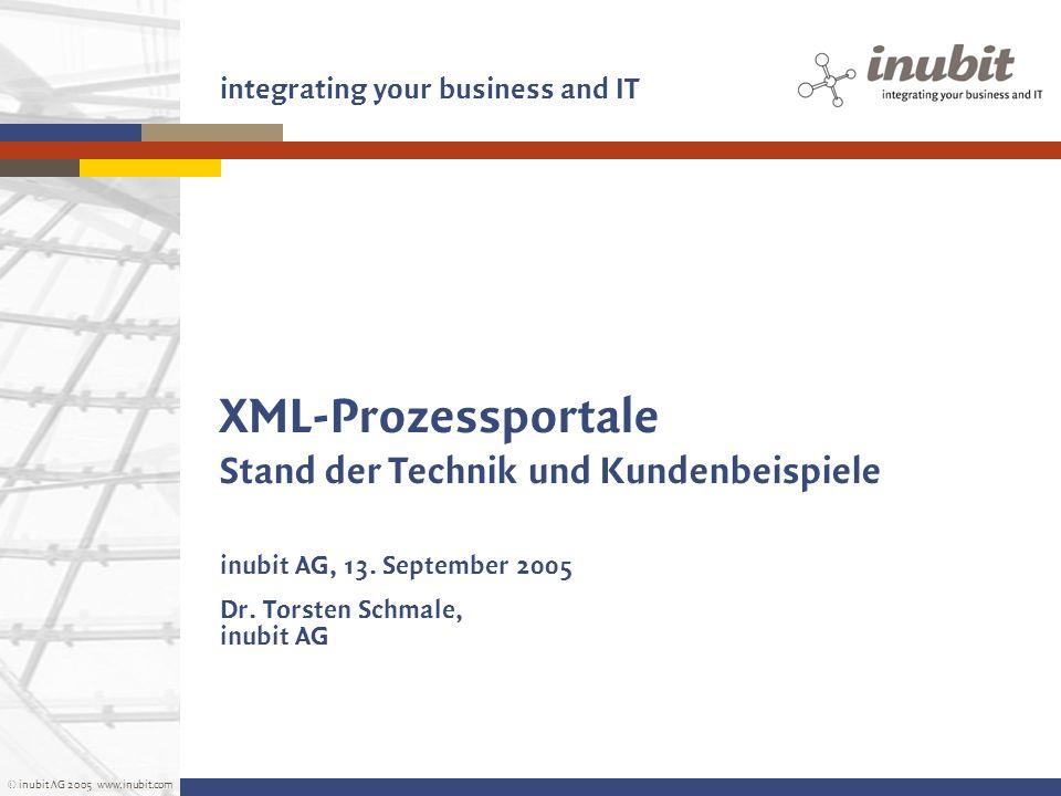 © inubit AG 2005 www.inubit.com integrating your business and IT XML-Prozessportale Stand der Technik und Kundenbeispiele inubit AG, 13. September 200