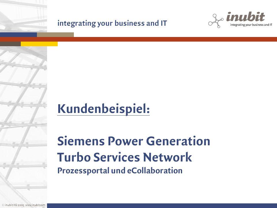 © inubit AG 2005 www.inubit.com integrating your business and IT Kundenbeispiel: Siemens Power Generation Turbo Services Network Prozessportal und eCo