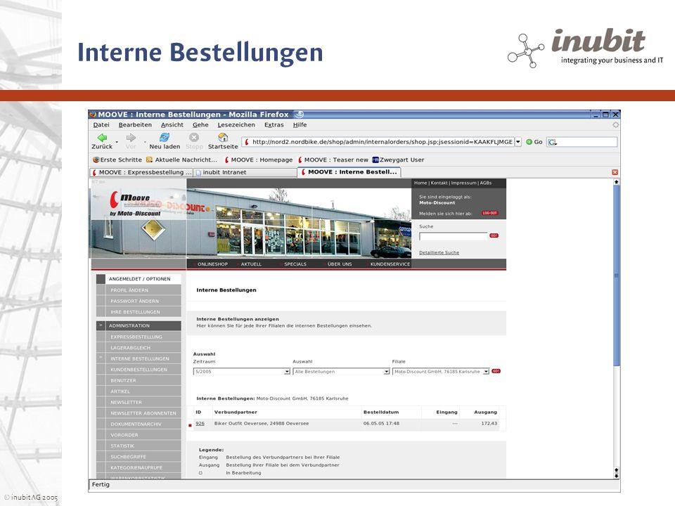 © inubit AG 2005 Interne Bestellungen