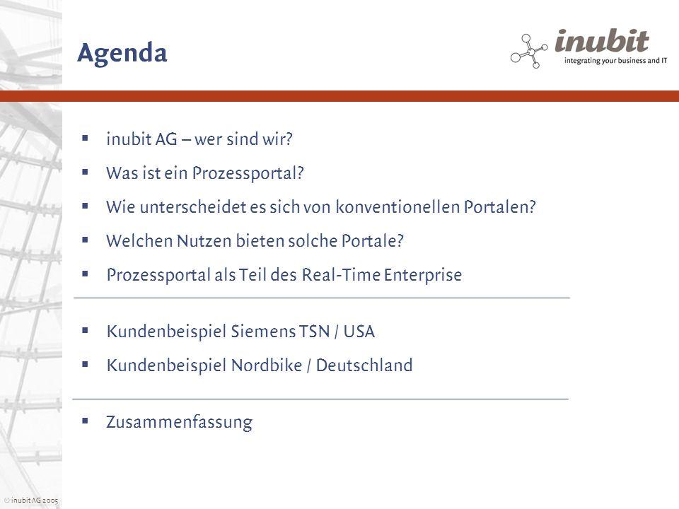 © inubit AG 2005 Agenda inubit AG – wer sind wir? Was ist ein Prozessportal? Wie unterscheidet es sich von konventionellen Portalen? Welchen Nutzen bi