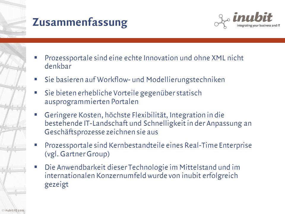© inubit AG 2005 Zusammenfassung Prozessportale sind eine echte Innovation und ohne XML nicht denkbar Sie basieren auf Workflow- und Modellierungstech