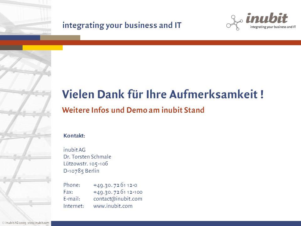 © inubit AG 2005 www.inubit.com integrating your business and IT Vielen Dank für Ihre Aufmerksamkeit ! Kontakt: inubit AG Dr. Torsten Schmale Lützowst