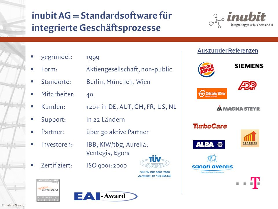 © inubit AG 2005 Turbo Services Network (SPG) Business Figures Overview