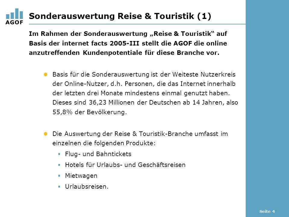 Seite 4 Sonderauswertung Reise & Touristik (1) Im Rahmen der Sonderauswertung Reise & Touristik auf Basis der internet facts 2005-III stellt die AGOF die online anzutreffenden Kundenpotentiale für diese Branche vor.