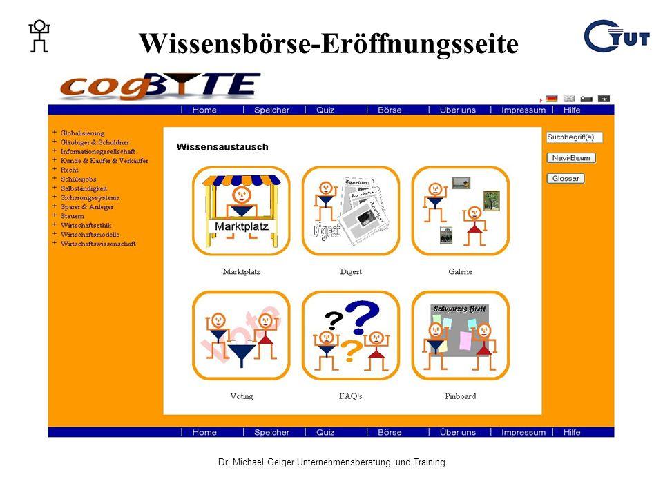 Dr. Michael Geiger Unternehmensberatung und Training Wissensbörse-Eröffnungsseite
