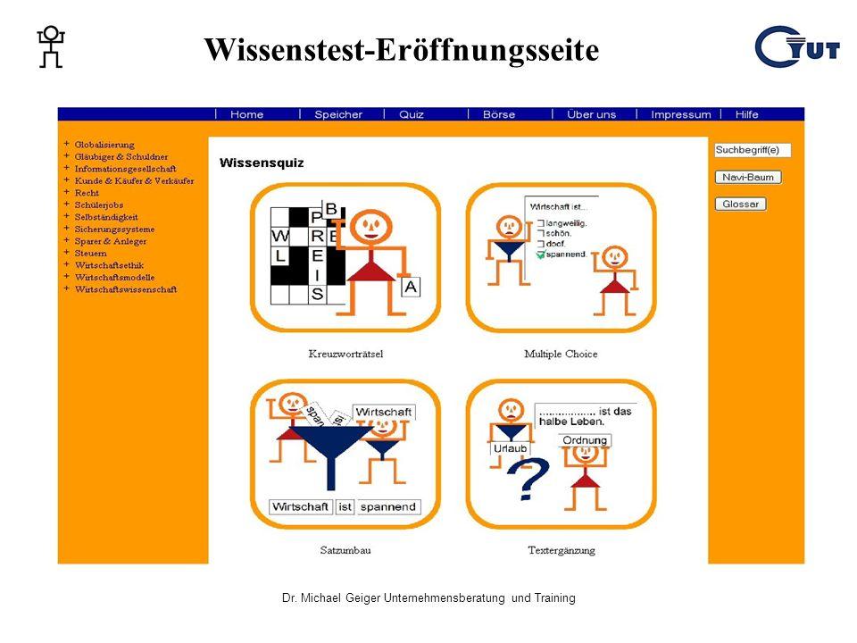 Dr. Michael Geiger Unternehmensberatung und Training Wissenstest-Eröffnungsseite