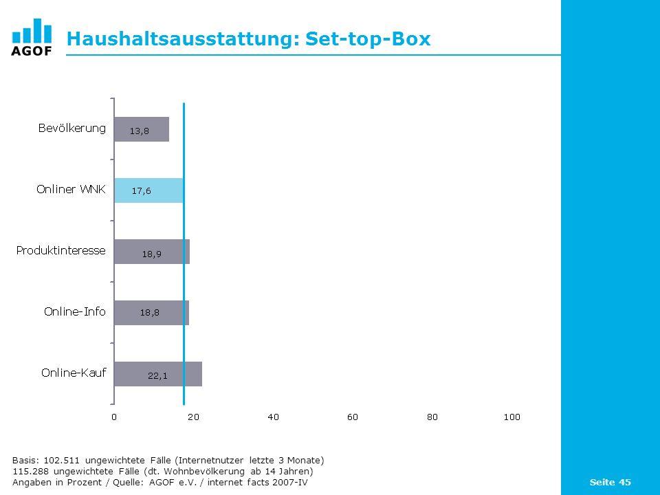 Seite 45 Haushaltsausstattung: Set-top-Box Basis: 102.511 ungewichtete Fälle (Internetnutzer letzte 3 Monate) 115.288 ungewichtete Fälle (dt. Wohnbevö