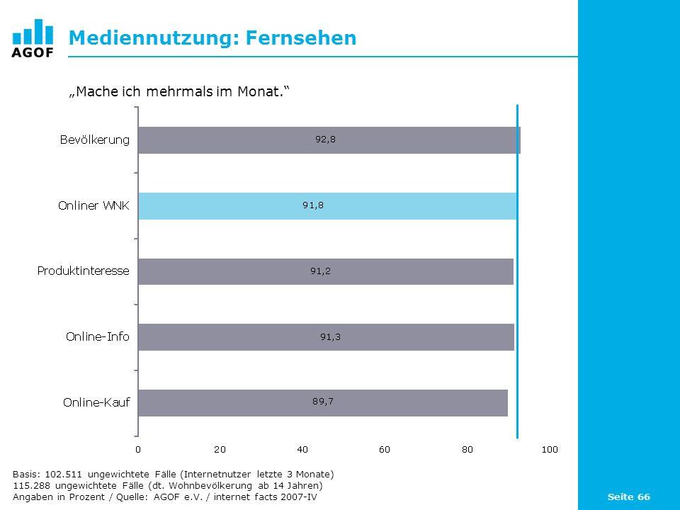 Seite 66 Mediennutzung: Fernsehen Basis: 102.511 ungewichtete Fälle (Internetnutzer letzte 3 Monate) 115.288 ungewichtete Fälle (dt. Wohnbevölkerung a