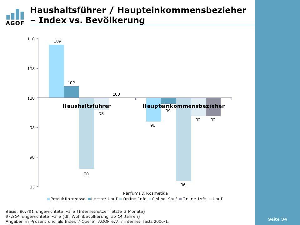 Seite 34 Haushaltsführer / Haupteinkommensbezieher – Index vs.