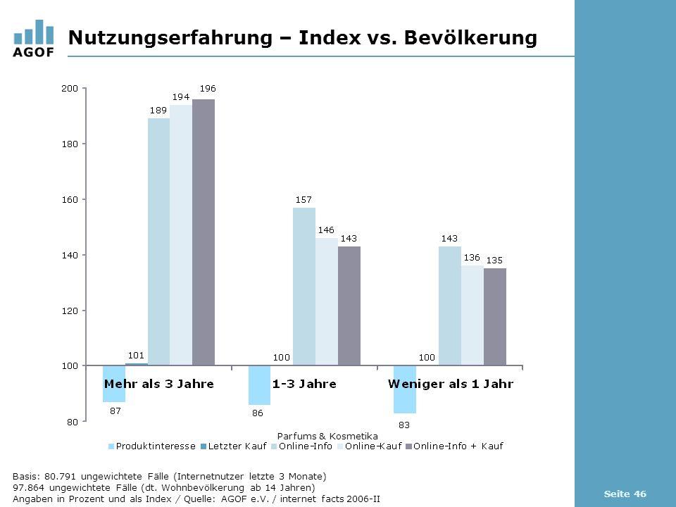 Seite 46 Nutzungserfahrung – Index vs.
